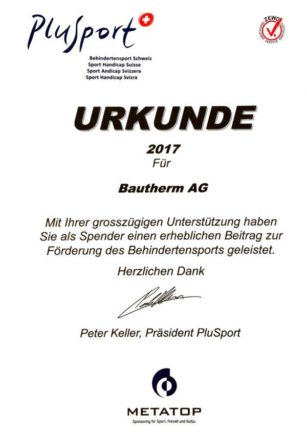 PlusSport Bautherm Urkunde