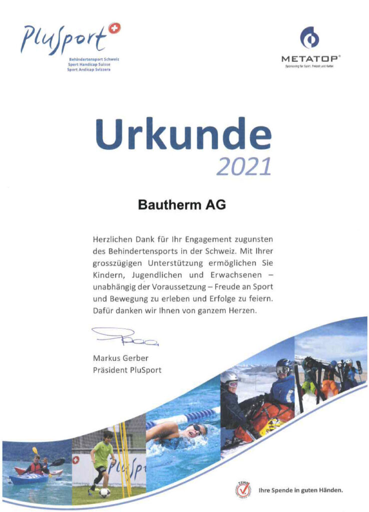 Bautherm AG Spende 2021 PluSport